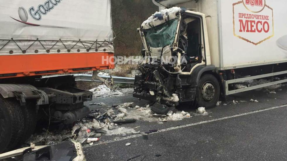 Шофьор загина в катастрофа на два ТИР-а в Кресненското дефиле