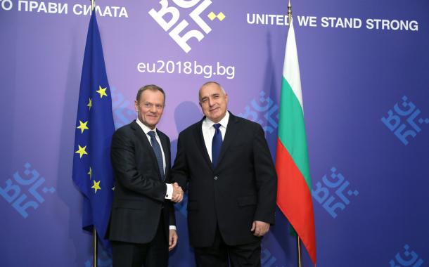 Премиерът Борисов се срещна с председателя на Европейския съвет Доналд Туск