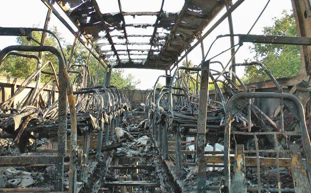 Автобус се запали на пътя Бургас - Камено