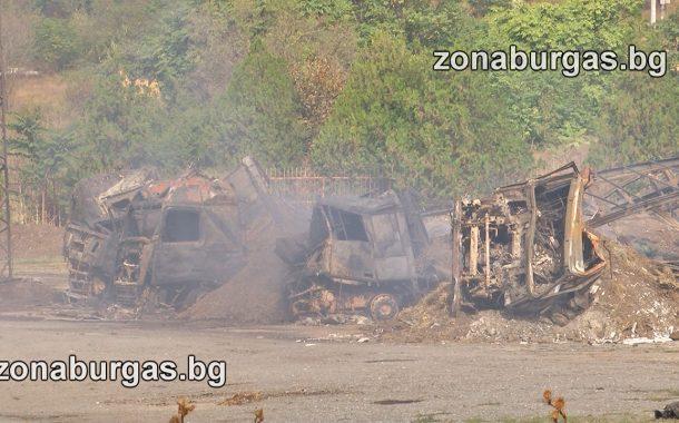 Четири ТИР-а изгоряха в Айтос, подозират умишлен палеж (ВИДЕО)
