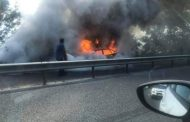 Кола с метан се запали след сблъсък с камион край Крайморие (ВИДЕО)