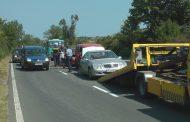 Тежка верижна катастрофа затвори пътя Созопол - Бургас (видео)